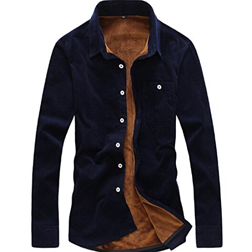 (Osave Mens Winter Thicked Fleece Lined Long Sleeve Button Up Slim Fit Shirts Mens Flannel Shirts (Navy Blue, M))