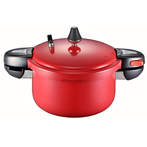 PN Red Pearl Autoclave for 6 Persons, Ceramic Coating Pressure Cooker Steamer