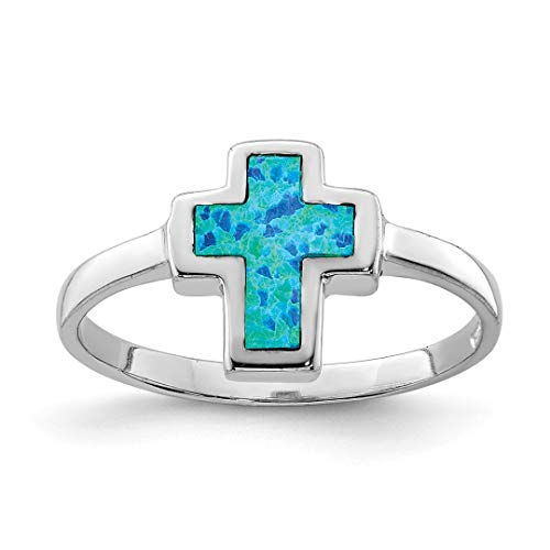 925 Sterling Silver Cross Religious Lab Created Opal Band Ring Size 7.00 Gemstone Fine Jewelry Gifts For Women For Her ()