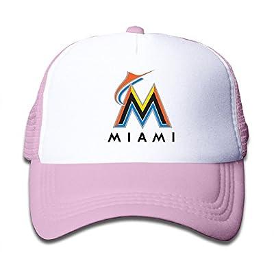 Custom Miami Marlins Kids Baseball Snapback Caps Hat Boys Girls Adjustable Cotton Pink By JE9WZ