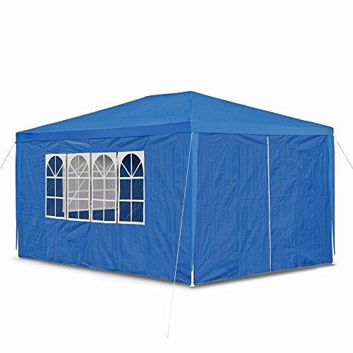 JOM Gartenpavillon mit 4 Seitenwänden, 3 x Fenster und Tür mit Reisverschluss, PE 100G, Allzweck/Party/Fest und Gartenzelt, 3 x 4 m, marine blau