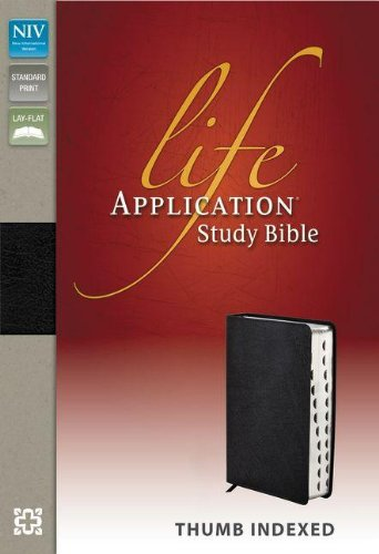 NIV, Life Application Study Bible, Bonded Leather, Black, Indexed, Red Letter Edition