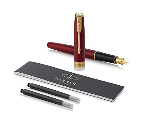 PARKER Sonnet Fountain Pen, Red Lacquer with Gold Trim, Fine Nib (1931473)