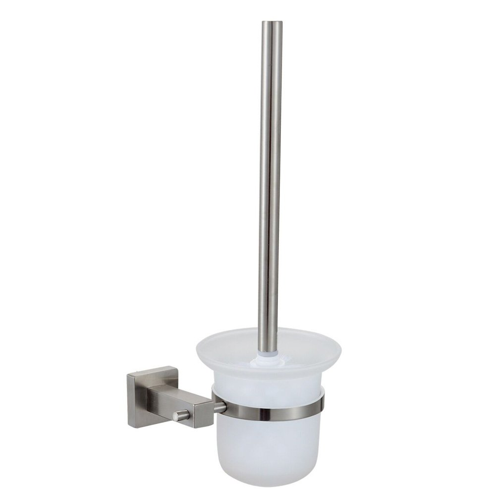Angle Simple Toilet Brush and Holder, SUS304 Stainless Steel Wall Mounted Toilet Brush Set Holder, Glass Cradle for Toilet Bowl Cleaner Brush, Toilet Bowl Brush with Holder, Brushed Nickel