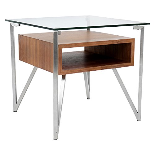 WOYBR TB-HVR-ET WL Wood, Glass, Stainless Steel Hover End Table, Walnut