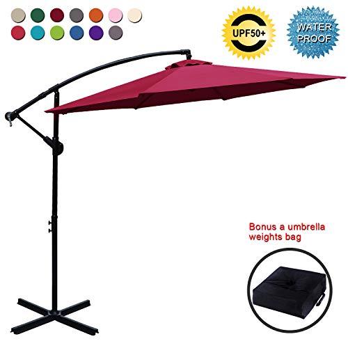 ABCCANOPY Patio Umbrellas Cantilever Umbrella Offset Hanging Umbrellas 10 FT Outdoor Market Umbrella with Crank & Cross Base for Garden, Deck, Backyard, Pool and Beach, 12+ Colors, (Burgundy) (Offset Walmart Patio Umbrellas)