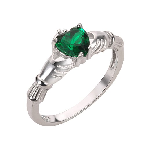 CloseoutWarehouse Simulated Emerald Cubic Zirconia Claddagh Benediction Ring Sterling Silver Size 4 by CloseoutWarehouse (Image #2)