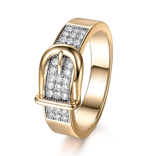 GULICX Neutral Fashion Style Belt Buckled Sparkle Cubic Zirconia Yellow Gold Tone Ring for Women Girls