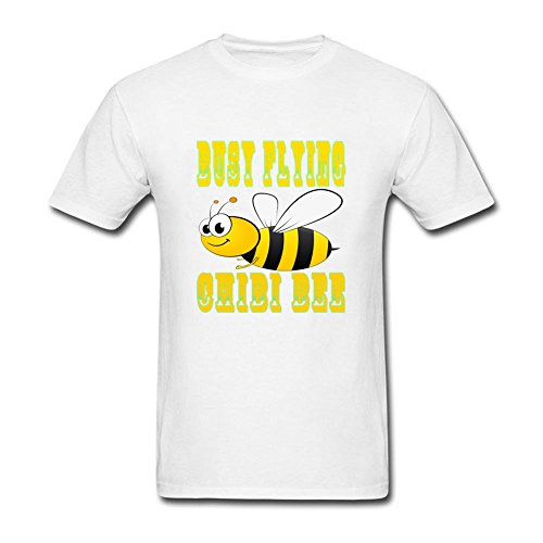[Casual Men Chibi Bee 100% Cotton Short Sleeve T-Shirt White M Customized Costume] (Pinky Brain Costume)