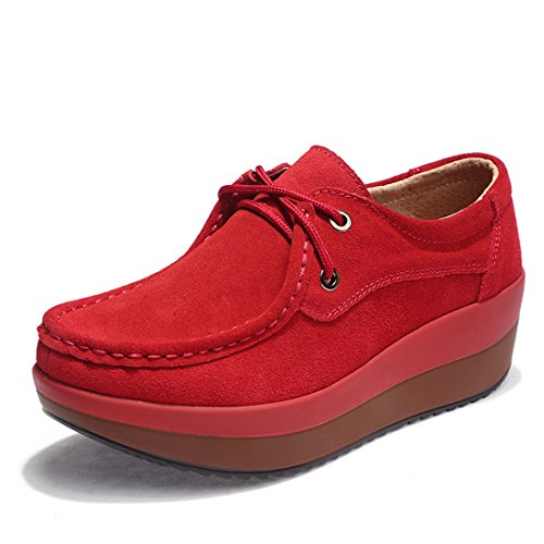 Z.SUO Women's Casual Comfortable Suede Loafers Thick Heel Shoes(6 UK/39 EU,Red)