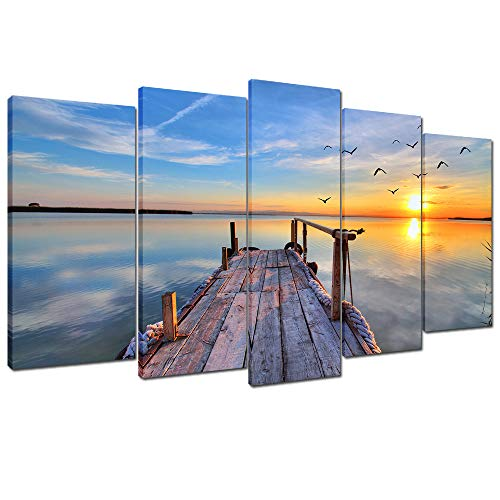 - Wallfeeling Arts Sunset Bridge Canvas Print for Living Room Decoration Stretched 5 Panels Painting Wall Art Picture Print on Light Blue Canvas- High Definition Modern Home Decor