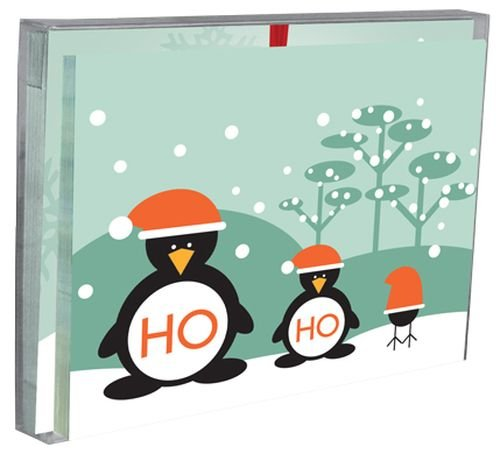 Tree-Free Greetings Ho Ho Ho Penguins Holiday Boxed Cards, 5 x 7 Inches, 12 Cards and Envelopes per Set, Multi-Color - Card Holiday Penguins Boxed