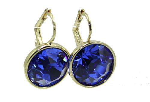 Swarovski Elements Tanzanite Blue Bella Dangle Earrings Gold Plated Earrings with Leverback Closure