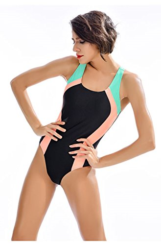 BROGEND Women's One Piece Swimsuits Racing Training Sports Athletic Swimsuits (Black/Green-X, Medium)