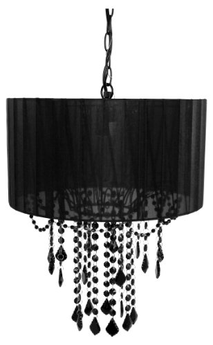 Tadpoles One Bulb Shaded Chandelier, Black