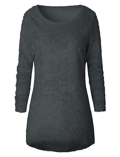 Boho Couleur Blouse YFLTZ Gray plisse Chic perle Femme Street Unie ZwFOq7xR