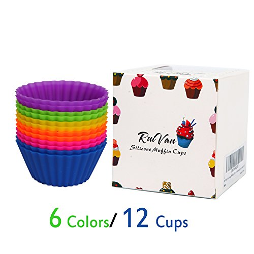 RUIVAN Muffin Cups/Baking Cups for cake - 12 Pack Reusabl...