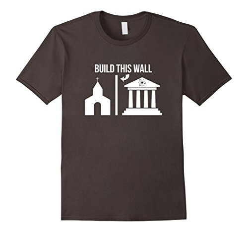 Mens Build This Wall -Separate Church & State Science March Shirt Medium Asphalt by Kinetic Quark Science T-Shirts