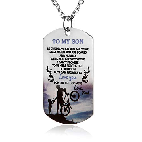FAYERXL Meaningful Necklace to My Son Love Dad Colorful Dog Tag Son Gift Ideas