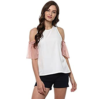 2ba3a458f7d7a Pannkh Women s Solid Raglan Top with Net Cold Shoulder Sleeves White
