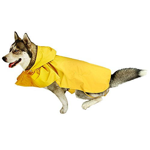 Royal Wise Dog Raincoat Waterproof Clothes Puppy Rain Poncho With Removable Hood For Dogs
