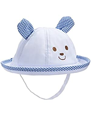Cute Cotton Hats for Baby Boys Girls Toddler Bucket Strap Sun Hat (1Month- 2T)