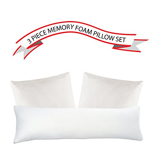 Premium Shredded Memory Foam Touch Comfort Pillow - 3 Piece Set - (3 Piece Set Bed)
