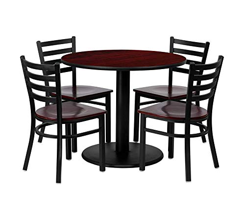 (Office Home Furniture Premium 36'' Round Mahogany Laminate Table Set with 4 Ladder Back Metal Chairs - Mahogany Wood Seat)
