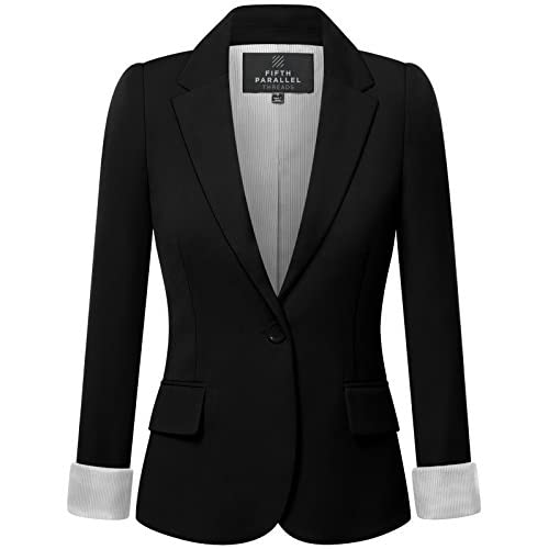 Top Fifth Parallel Threads FPT Womens' Regular Fit Classic Striped Wrist Lining Blazer free shipping