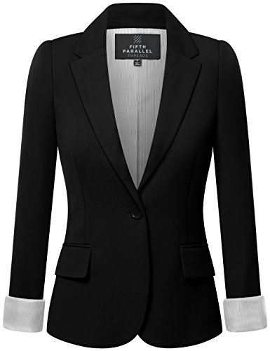 Fifth Parallel Threads FPT Womens Regular Fit Classic Striped Wrist Lining Blazer