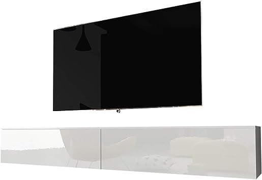 Selsey Kane - Mueble TV Flotante/Mesa TV/Mueble para Salón/Mueble TV Suspendido (180 cm, sin LED, Blanco Matte/Blanco Brillante): Amazon.es: Electrónica