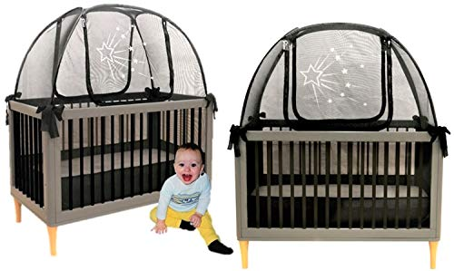 Twin Pack 2 Popup Crib Tents Baby Crib Safety Pop up Tent - Premium Net Cover Crib Tent to Keep Baby from Climbing Out - See Through Black Crib Netting - Nursery Mosquito Net Baby Bed Canopy Netting (Best Co Sleeper Australia)