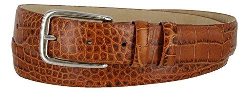 (Hagora Men's Eclectic Skin Textures Genuine Italian Calfskin Leather Buckle Belt,Alligator Tan 34)
