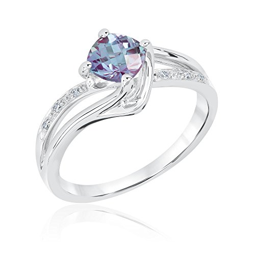 Created Alexandrite and Diamond Sterling Silver Ring - Size 8 PDF
