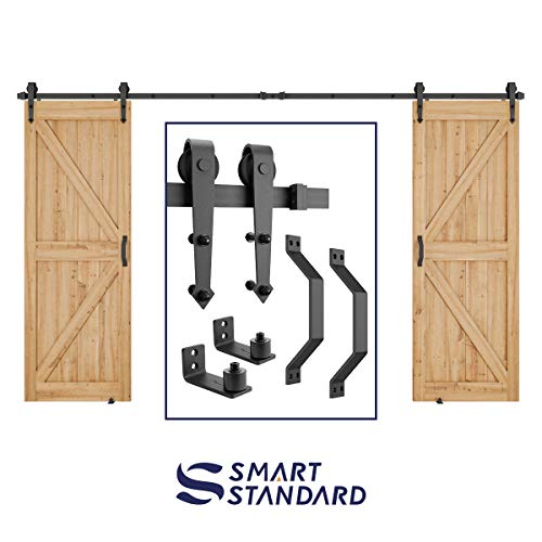 12 FT Heavy Duty Double Gate Sliding Barn Door Hardware Kit, 12ft Double Rail, Black, (Whole Set Includes 2X Pull Handle Set & 2X Floor Guide) Fit 30