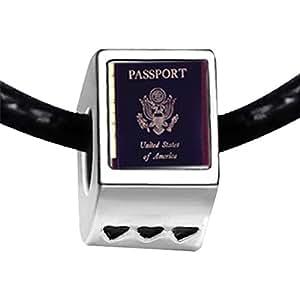 Chicforest Silver Plated Usa Passport Photo Three Heart Charm Beads Fit Pandora Chamilia Biagi Charm Bracelet