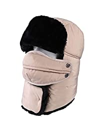 OBO Bands Unisex Winter Trapper Trooper Hat with Breathable and Detachable and Windproof Mask (White)