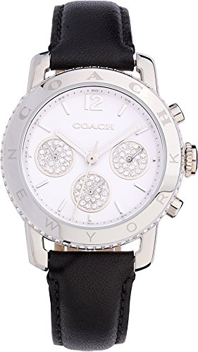 - Coach Womens 14501972 Legacy Sport Silver Tone Black Leather Glitz Watch