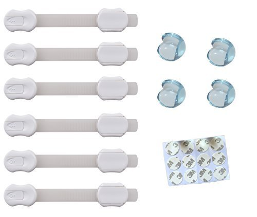 Premium Adjustable Baby Proofing Locks-latches to Baby Proof Cabinets, Drawers, Fridge, Toilet Seat, Appliances. 6 Pack. Free Bonus: Clear Table Edge Corner Guards, Bumper, Protectors. 4 Pack by HAFSAH. Baby Products (Image #1)