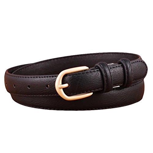 Aquarius CiCi PU Leather Dress Belt for Women with Gold Buckle Multiple Colors Available
