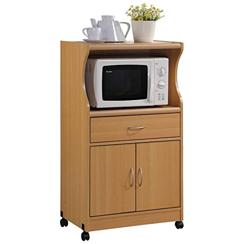 (Pemberly Row Microwave Kitchen Cart in Beech )