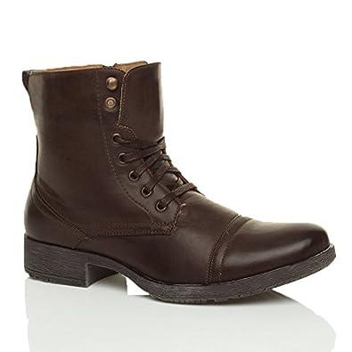 Herren Schnüren Kleine Absatz Knöchelhohe Stiefel Militär Stiefeletten  Größe 44 10 e414156336