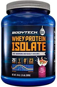 BodyTech Whey Protein Isolate Powder with 25 Grams of Protein per Serving BCAA s Ideal for Post Workout Muscle Building and Growth, Contains Milk and Soy, Fruity Cereal Flavor 1.5 Pounds