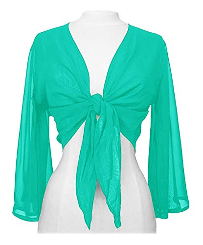 Indian Trendy Women's Chiffon Flair Wrap Tie Top Choli Blouse Belly Dance Gypsy (One Size, Turquoise)