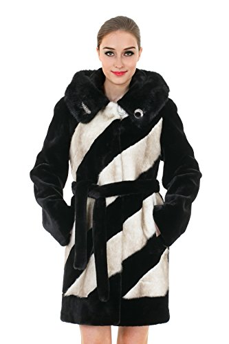 Classic Womens Mink Coat (Adelaqueen Women's Black and White Classic Mink Hooded Faux Fur Coat Full Length)