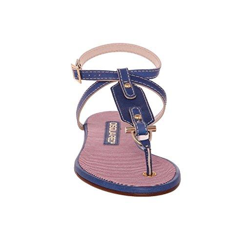 Dsquared2 Kvinnor Blå Läder Och Textil T-bandet Platt Sandaler Ankel Wrap Skor Blå