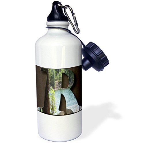 3dRose Jos Fauxtographee- Alphabet R - The capital letter R with the Pine Valley Lake behind it - 21 oz Sports Water Bottle (wb_284146_1) by 3dRose