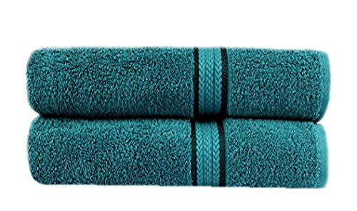 Cotton Craft - 2 Pack Ultra Soft Oversized Extra Large Bath Sheet 35x70 Teal - Weighs 33 Ounces - 100% Pure Ringspun Cotton - Luxurious Rayon Trim - Ideal for Everyday use - Easy Care Machine wash
