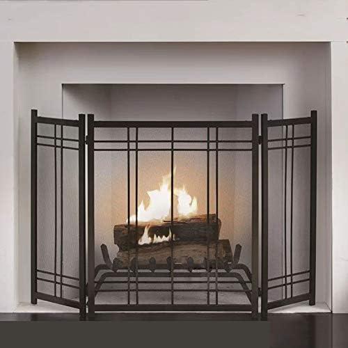 暖炉スクリーン 屋内屋外用ヘビーデューティゴージャスな暖炉スクリーン - ソリッド赤ちゃんの安全証明フェンススチールスパークガードカバー (Color : Black, Size : 70×30×82cm)
