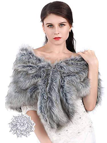 Aukmla - Chal - para mujer gris gris Talla unica Chal Estola de Pelo Mujer para Invierno Fiesta Novia Bodas